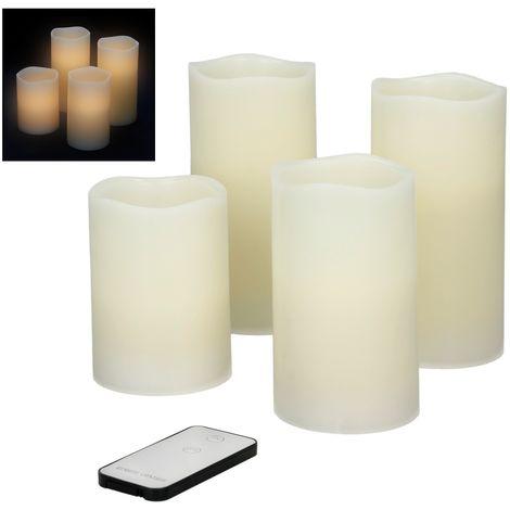 ECD Germany 4er Set LED-Kerzen Flammenlose Echtwachskerzen - 10/12,5/2x15 cm - Creme - mit Fernbedienung - aus Echtwachs mit flackernder LED-Flammen