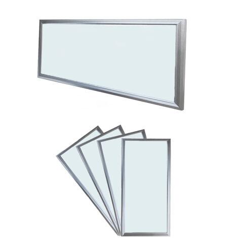 ECD Germany 4x LED Panel ultradelgado con material de montaje 18W - 60 x 30 cm - Blanco frío 6000K - Ultrafino 1450 lumens - Lámpara empotrada en el techo