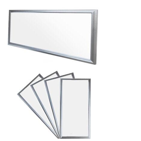 ECD Germany 4x LED Panel ultradelgado con material de montaje 18W - 60 x 30 cm - Blanco neutro 4000K - Ultrafino 1380 lumens - Lámpara empotrada en el techo