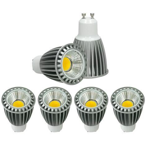 ECD Germany 4x LED Spot 9W COB GU10 - Equivale 60W Halógeno - 220-240V - Ángulo de haz de 60 ° - 552 lúmenes - 4000K Blanco frío - Lámpara de foco