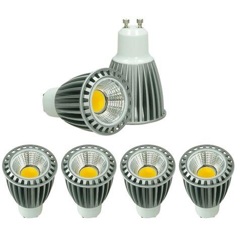 ECD Germany 4x LED Spot 9W COB GU10 - Equivale 60W Halógeno - 220-240V - Ángulo de haz de 60 ° - 552 lúmenes - 4000K Blanco neutro - Lámpara de foco