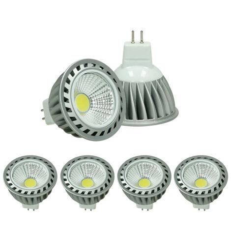 ECD Germany 4x LED Spot regulable 4W MR16 COB - Equivale 20W Halógeno - Ángulo de haz de 60° - 240 lúmenes - blanco cálido 3000K - Lámpara de foco