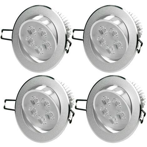 ECD Germany 4xLED Foco empotrable LED 5W 230V - Redondo Ø11cm - 342 lúmenes -Blanco frío 6000K - Luminaria empotrada Foco empotrado Lámpara de techo Lámpara Spot [Clase energética A]