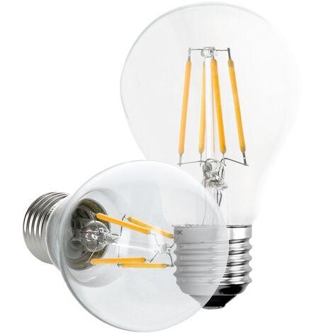 ECD Germany 5 x Bombilla LED Filamento E27 Clásico Edison 4W 408 Lumen 120 ° Ángulo de haz AC 220-240V aproximadamente 20W bombilla incandescente Lámpara blanco cálido