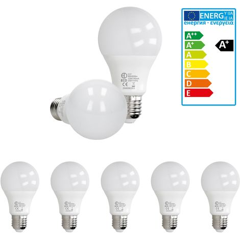ECD Germany 5 x LED Bombilla globo LED 12W E27 - 4000 Kelvin - Ángulo de haz 270 ° - 800 lúmenes - Blanco neutro - 220-240 V - EEK A + - Bombillas casquillo gordo[clase energética A+]
