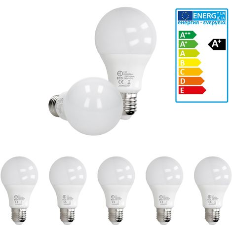 ECD Germany 5 x LED Bombilla globo LED 12W E27 - 6000 Kelvin - Ángulo de haz 270 ° - 800 lúmenes - Blanco frio - 220-240 V - EEK A + - Bombillas casquillo gordo[clase energética A+]