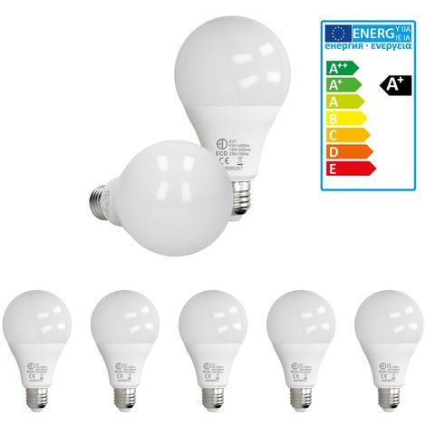 ECD Germany 5 x LED Bombilla globo LED 18W E27 - 6000 Kelvin - Ángulo de haz 270 ° - 1400 lúmenes - Blanco frio - 220-240 V - EEK A + - Bombillas casquillo gordo[clase energética A+]