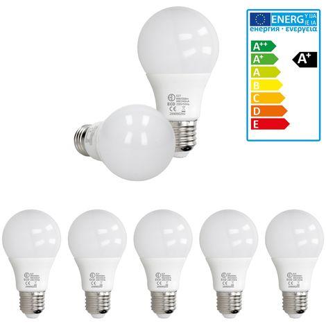 ECD Germany 5 x LED Bombilla globo LED 9W E27 - 4000 Kelvin - Ángulo de haz 270 ° - 589 lúmenes - Blanco neutro - 220-240 V - EEK A + - Bombillas casquillo gordo[clase energética A+]