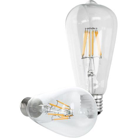 ECD Germany 5 x Linterna LED Filamento E27 Clásico Edison 6W 612 Lumen 120 ° Ángulo de haz AC 220-240V aproximadamente 40W bombilla incandescente blanco cálido