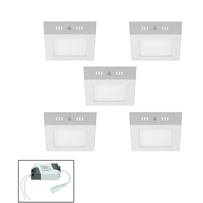 5 x Plafoniera a LED 12W AC 220-240 V 663 Lumen 170 x 170 mm IP53 LED Pannello Bianco Caldo 3000K Quadrato Faretto da Incasso Pannello LED Quadrato