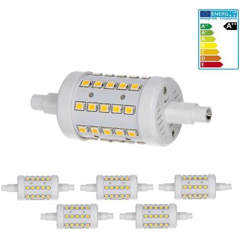 ECD Germany 5 x R7S Bombilla LED 7W 78mm 700 Lumen AC86-265V 360 ° Ángulo de haz reemplaza 45W Bombilla de halógeno blanco cálido regulable