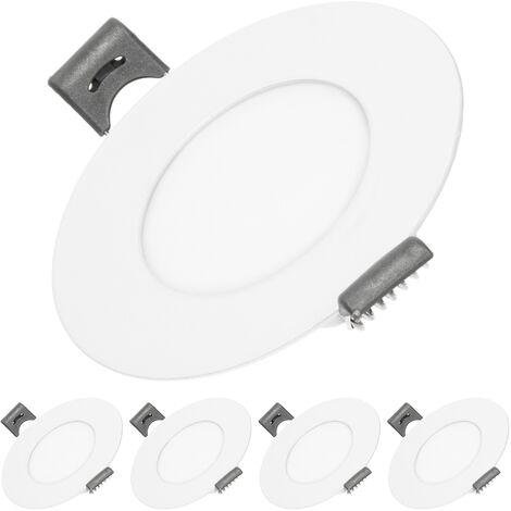 ECD Germany 5 x Ultraslim mince panneau LED Projecteur encastré 3W SMD 2835 Ø8.5cm Blanc Neutre 4000K 220-240 V environ 124 lumens plafonnier encastré rond