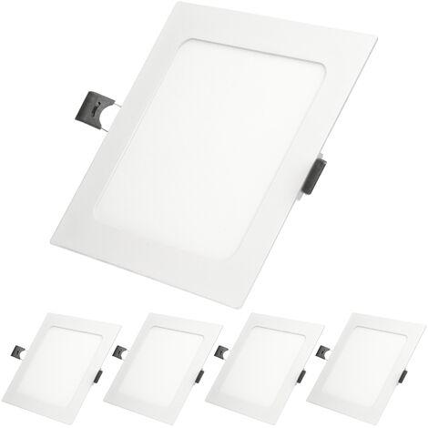 ECD Germany 5 x Ultraslim mince panneau LED Projecteur encastré 9W 14,2 cm x 14,2 SMD 2835 Blanc Chaud 3000K 220-240 V environ 678 lumens plafonnier encastré angulaire