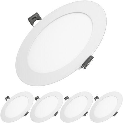 ECD Germany 5 x Ultraslim mince panneau LED Projecteur encastré 9W Ø14.2cm SMD 2835 Blanc Neutre 4000K 220 - 240 V environ 578 lumens plafonnier encastré rond