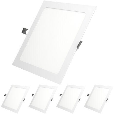 ECD Germany 5 x Ultraslim ultra delgado Panel de LED fino Proyector incorporado 18W 22 x 22 cm SMD 2835 blanco frío 6000K 220-240 V aprox. 1213 Lumen Iluminación de techo empotrada Rectangular