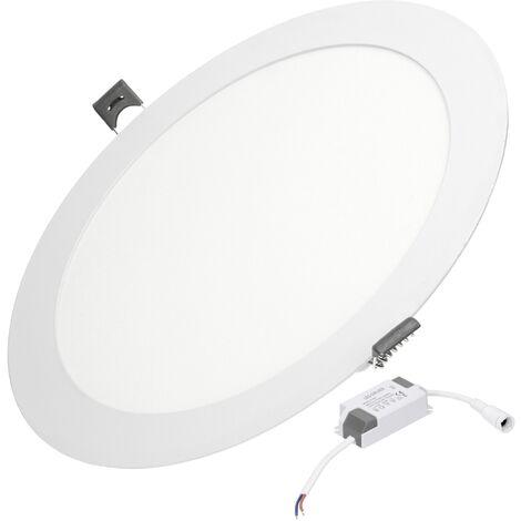 ECD Germany 50-pack LED Downlight 18W - spots de plafond de panneau ULTRASLIM - 220-240 - SMD 2835 - Ø22 cm - blanc chaud 3000K - taches rondes éclairage encastré pour couloir, salle de bains ou la cuisine