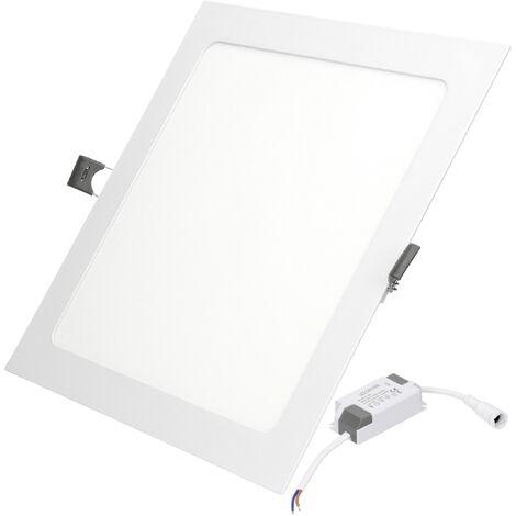 ECD Germany 50 x Panel LED SMD 2835 empotrable plafón cuadrado 18W blanco frío 6000K 1213 lúmenes protección IP44 no regulable 220-240 voltios AC clase energéticamente eficiente A aluminio