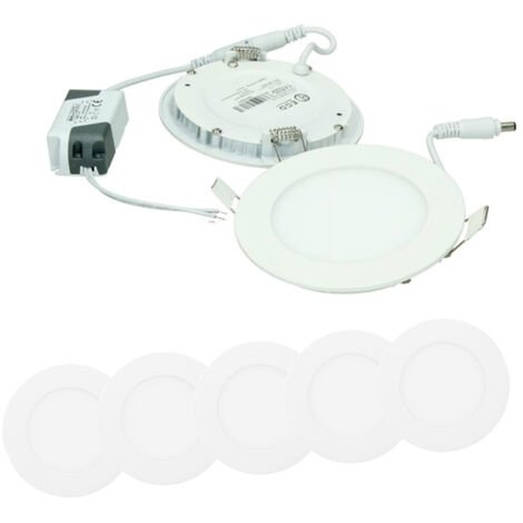 ECD Germany 5x Lámpara de techo empotrable redonda 6W - Blanco cálido 4000K - 324 lúmenes Ø12cm - panel ultradelgado de techo