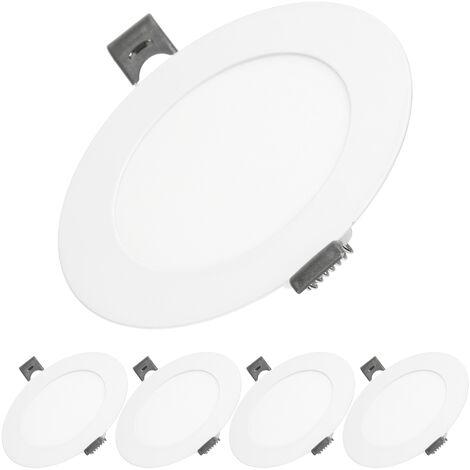 ECD Germany 5x Lámpara de techo empotrable redonda 6W - Blanco frío 6500K - 339 lúmenes Ø12cm - panel ultradelgado de techo