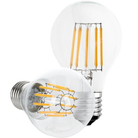 ECD Germany 5x Vela de filamento led E27 10W - Blanco calido 2800K - 1085 Lumen - Equivale a aprox. 50W - Ángulo 120° - Lámpara incandescente classic Edison