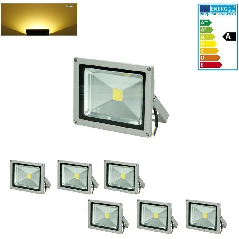 6 x 20 Watt Faretto Proiettore LED AC 220-240V 2585 Luce Bianco Caldo 2800K Luce Faro Faretto LED da Esterno IP65 Impermeabile risparmio energetico