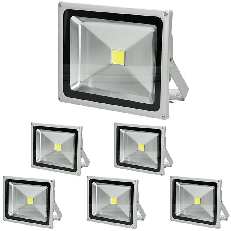 6 x 30W Faretto Proiettore LED con Sensore di Movimento AC 220-240V 1518 Lumen Bianco Caldo 2800K Luce Faro da Esterno IP65 Impermeabile - Ecd Germany
