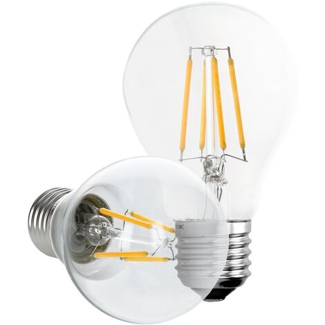 ECD Germany 6 x Bombilla LED Filamento E27 Clásico Edison 4W 408 Lumen 120 ° Ángulo de haz AC 220-240V aproximadamente 20W bombilla incandescente Lámpara blanco cálido