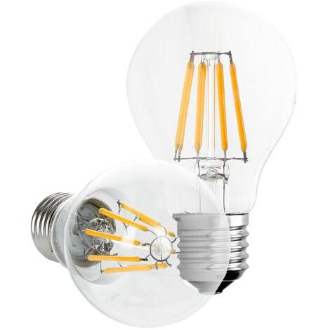 ECD Germany 6 x LED Bombilla Filamento E27 Clásico Edison 8W 816 Lumen 120 ° Ángulo de haz AC 220-240V aproximadamente 45W lámpara Blanco cálido