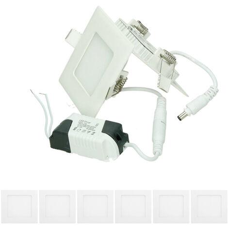 ECD Germany 6 x Ultraslim mince Panneau LED à encastrer 3W 8,5 x 8,5 cm SMD 2835 6000K Blanc Froid 220 - 240 V environ 131 lumens plafonnier encastré angulaire