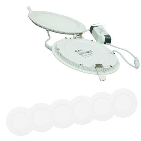 ECD Germany 6 x Ultraslim mince panneau LED Projecteur encastré 12W SMD 2835 Ø17cm Blanc Neutre 4000K 220-240 V environ 712 lumens rond