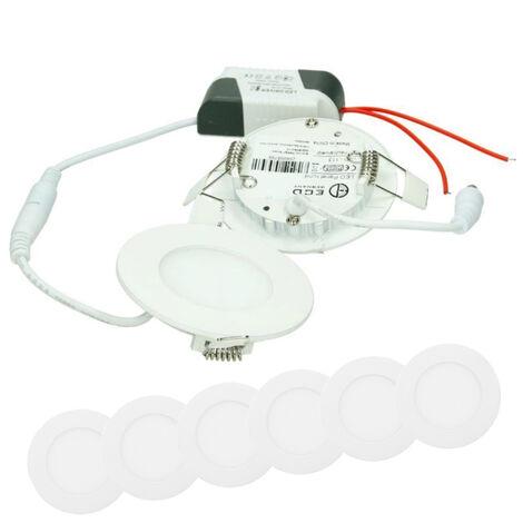 ECD Germany 6 x Ultraslim mince panneau LED Projecteur encastré 3W SMD 2835 Ø8.5cm Blanc Neutre 4000K 220-240 V environ 124 lumens plafonnier encastré rond