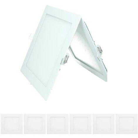 ECD Germany 6 x Ultraslim mince spot encastrable LED 18W panneau 22 x 22 cm 2835 SMD blanc chaud 3000K 220-240 V environ 1123 lumens plafonnier encastré angulaire