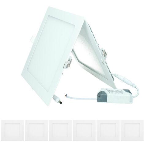 ECD Germany 6 x Ultraslim ultra delgado Panel de LED fino Proyector incorporado 18W 22 x 22 cm SMD 2835 Blanco frío 6000K 220-240 V aprox. 1213 Lumen Empotrable Plafón Cuadrado