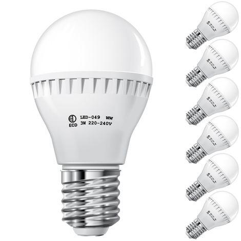 ECD Germany 6x Bombilla Led 3W E27 - 6000 Kelvin blanco frío - 200 lúmenes - 220-240 V - Bombillas de bajo consumo - lámpara incandescente de 25W