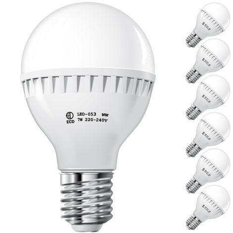 ECD Germany 6x Bombilla LED E27 7W 240V 458 lumens Reemplaza lámpara halógena de 45W blanco frío Lámpara ahorradora de energía de 6000K