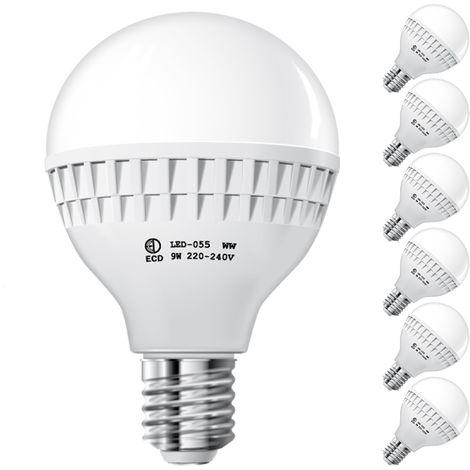 ECD Germany 6x Bombilla LED E27 9W 240V 584 lumens Reemplaza lámpara halógena de 60W blanco frío Lámpara ahorradora de energía de 6000K
