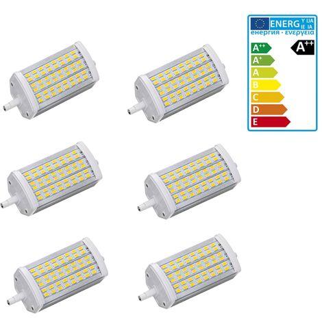 ECD Germany 6x Bombilla LED R7S 15W - Regulable - 118mm - 800 Lumen - equivale a una bombilla halógena de 90W - Ángulo de haz de 360° - Blanco calido 3000K - Lámpara de iluminación halógena de barra