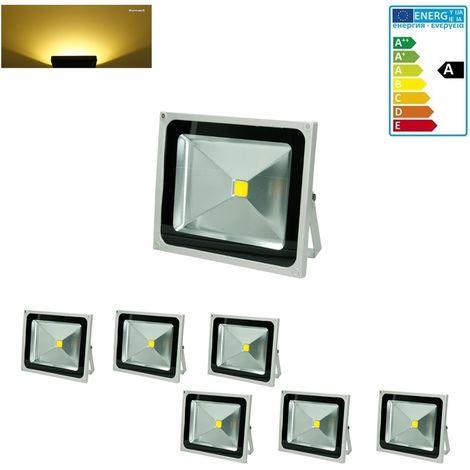 ECD Germany 6x Focos reflectores LED 50W - resistente al agua - 2585 lúmenes - 2800K Blanco cálido- Clase de protección IP65 - proyector de pared para exterior