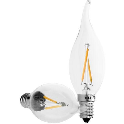 ECD Germany 6x Vela de filamento led E14 2w - Blanco calido 2800K - 204 Lumen - Equivale a 15W - Ángulo 120° - Lámpara incandescente