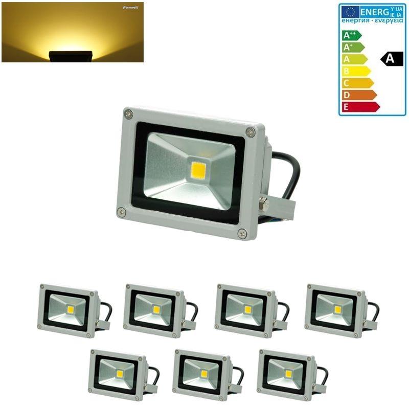 7 x Faretto Proiettore 10W LED AC 220-240V 2585 Luce Bianco Caldo 2800K Luce Faro da Esterno Giardino Cortile Garage IP65 Impermeabile - Ecd Germany