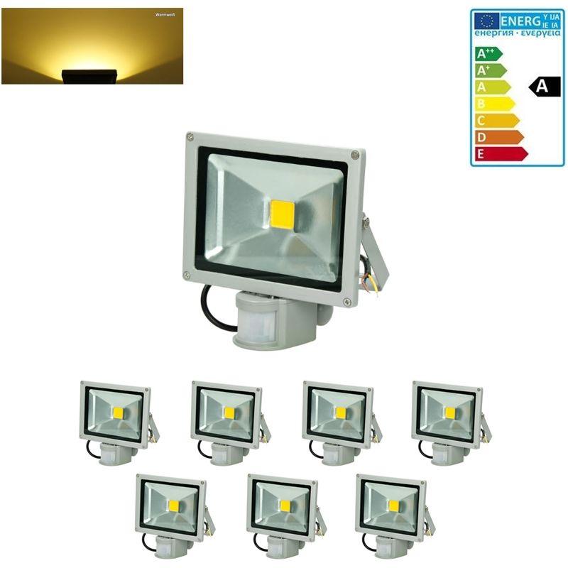 7 x 20W LED Faretto Proiettore con Sensore di Movimento AC 220-240V 1200 Luce Bianca Caldo 2800K Luce Faro da Esterno IP65 Impermeabile - Ecd Germany