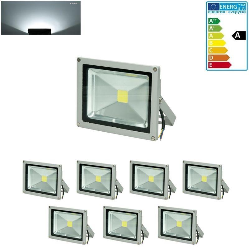 7 x 20W LED Faretto Proiettore AC 220-240V 1200 Luce Bianco Freddo 6000K Luce Faro da Esterno IP65 Impermeabile Faretti Fari LED Lampada Luce - Ecd
