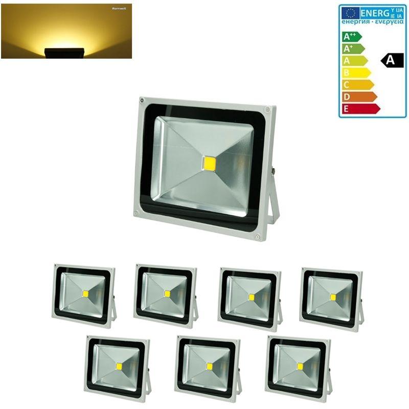 ECD Germany 7 x 50W Faretto Proiettore LED AC 220-240V 2585 Luce Bianco Caldo 2800K Luce Faro da Esterno IP65 Impermeabile LED Faro proiettore LED