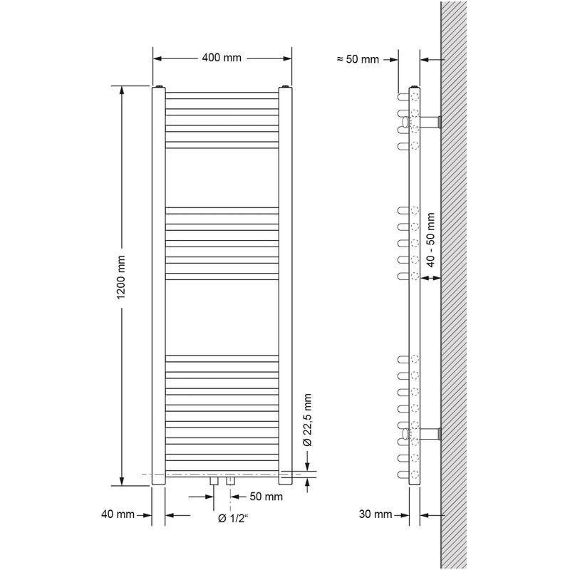 ECD Germany Badheizk/örper Mittelanschluss 400 x 1200 mm Chrom gebogen mit Thermostat und Anschlussgarnitur Durchgang Boden Chrom Heizk/örper Heizung Handtuchw/ärmer Handtuchtrockner Handtuchheizk/örper