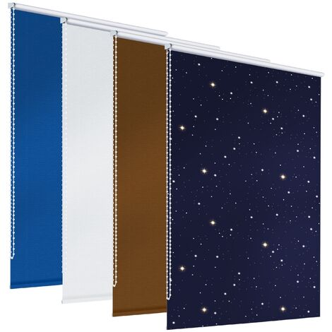 ECD Germany blackout aveugles 80 x 230 cm - bleu avec des étoiles - Klemmfix - sans perçage - pour le soleil et la protection de la vie privée - incl. Matériel - EasyFix de serrage Rollo Rollo