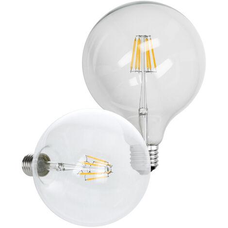 ECD Germany bombilla globo LED de filamento E27-6W - 125 mm - 624 lúmenes - ángulo de 120 ° - 220-240V - aprox. bombilla incandescente - blanco cálido - bombillas lámpara de incandescente