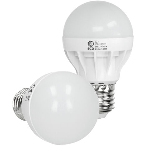ECD Germany Bombilla LED E27 5W Bombilla ahorradora de energía blanco frío