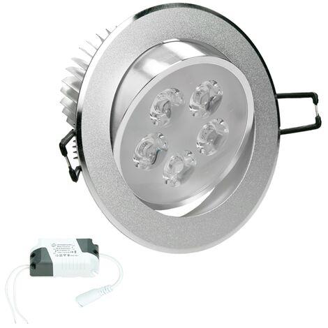 ECD Germany Bombilla LED empotrable 5W 220-240V Spot LED Redondo Ø11cm 353 lumens Blanco cálido 3000K