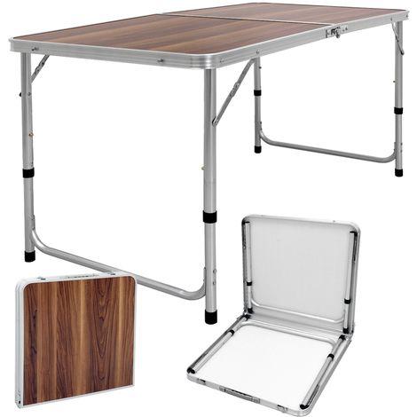 ECD Germany Campingtisch 120 x 60 x 55/63/70 cm - höhenverstellbar - klappbar - Holzdekor - aus Aluminium und MDF - mit Tragegriff - Klapptisch Gartentisch Falttisch Tisch