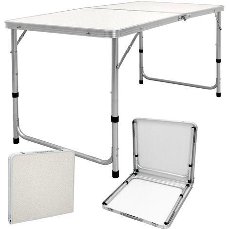 ECD Germany Campingtisch 120 x 60 x 55/63/70 cm - höhenverstellbar - klappbar - Weiß / Creme - aus Aluminium und MDF - mit Tragegriff - Klapptisch Gartentisch Falttisch Tisch